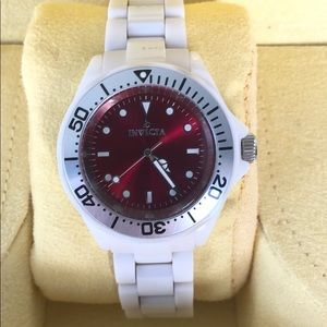Invicta white ceramic watch red face with box